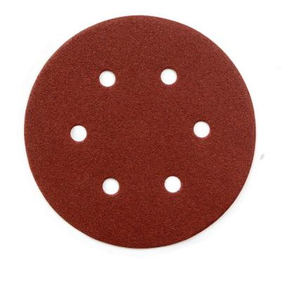6 in. 60-Grit Aluminum Oxide Hook and Loop 6 Hole Disc (25-Pack)