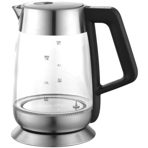 Ovente 7-Cup Cordless Black Stainless Steel Electric Kettle KG66S