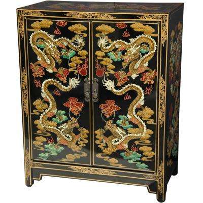 Oriental Furniture Black Dragons Lacquer Shoe Cabinet