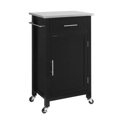 Savannah Black Compact Kitchen Island with Stainless Steel Top