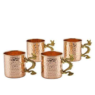 20 oz. Solid Copper Dragon Handle Hammered Straight Sided Mugs (Set of 4)