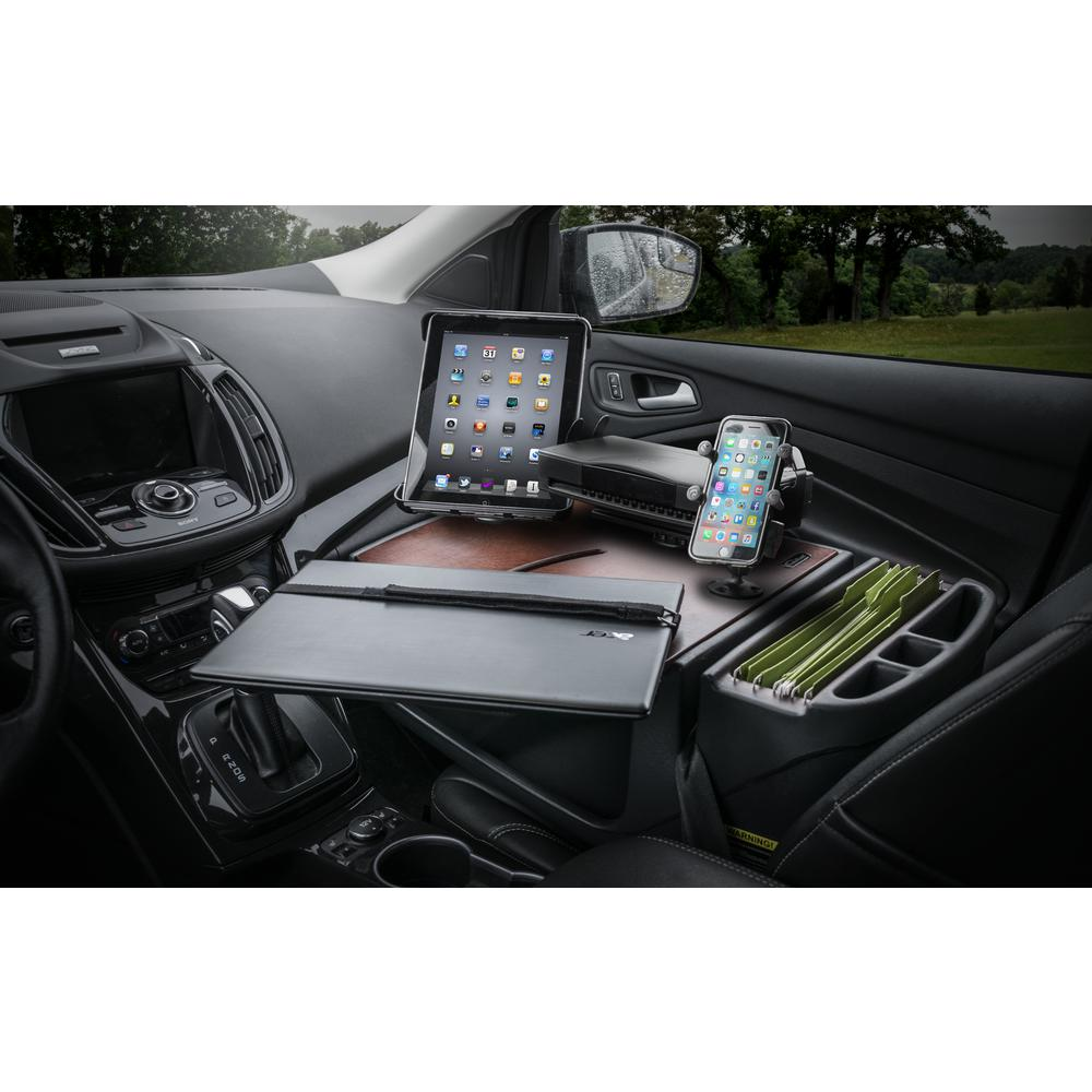 AutoExec Roadmaster Car Desk with Inverter, Phone Mount, Tablet Mount and Printer Stand Mahogany The RoadMaster Car Desk is the perfect solution to those who need a stable work station to place their Laptop on to work. The 21 in. W top has an adjustable laptop plate so the laptop can be moved to a comfortable, ergonomic typing position. The laptop plate extends past the edge of the desk by another 3 in. making it 24 in. of overall reach from the far edge of the desk.