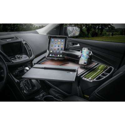 Roadmaster Car Desk with Inverter, Phone Mount, Tablet Mount and Printer Stand Mahogany