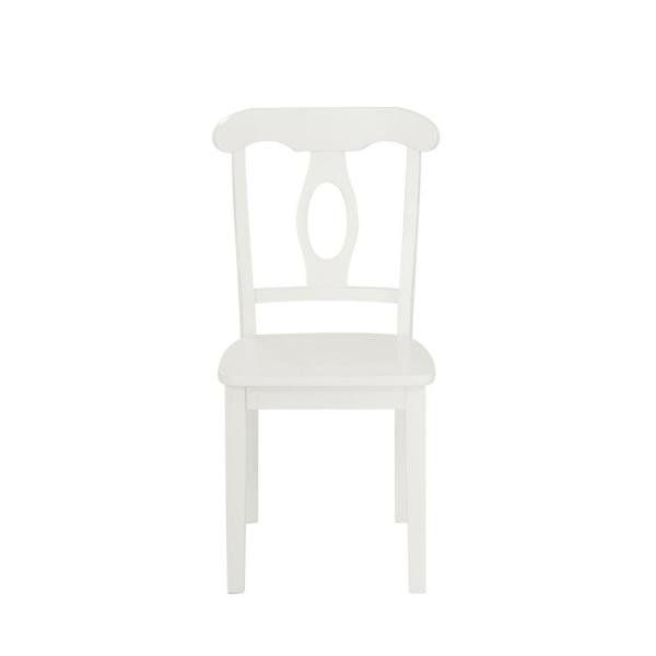 Alba 5-Piece White Traditional Height Pedestal Dining Set