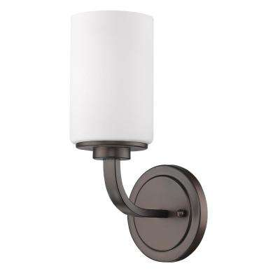 Addison 1-Light Oil-Rubbed Bronze Sconce with Etched Glass Shade