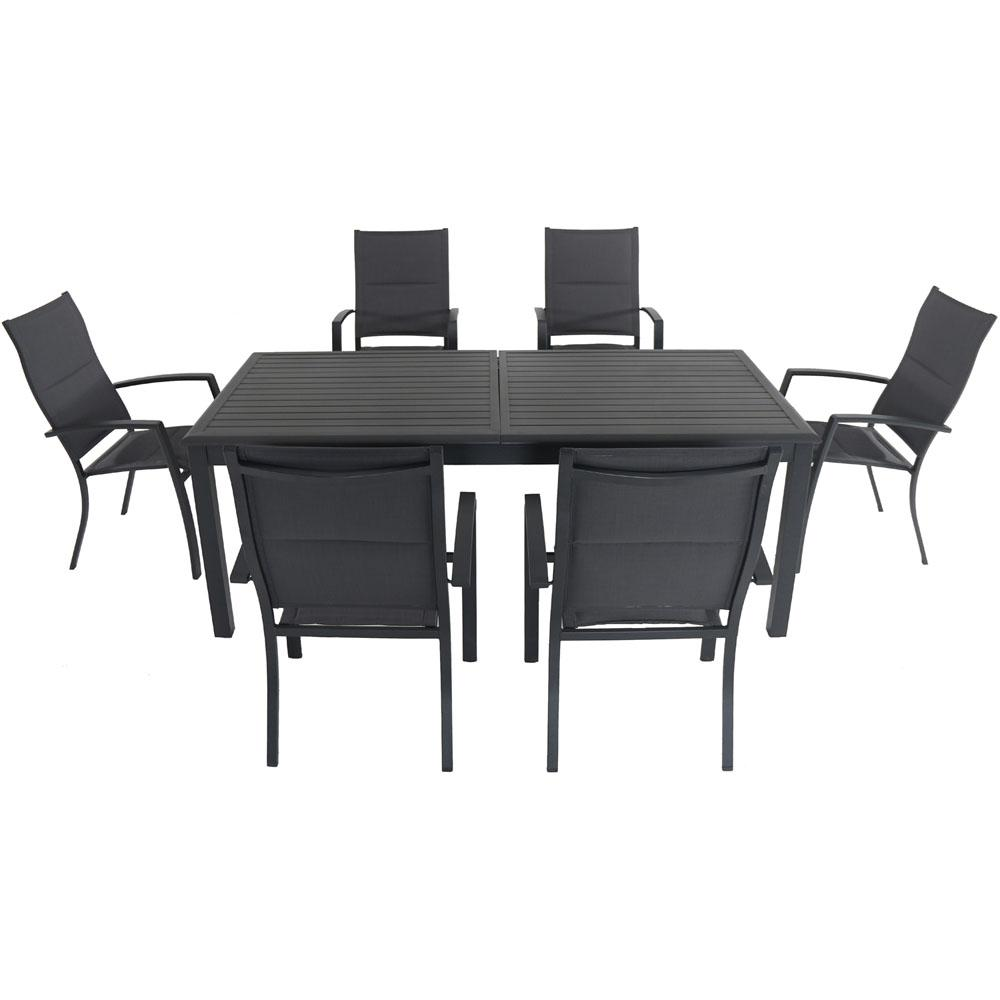 Beau Bryn 7 Piece Aluminum Outdoor Dining Set With 6 Padded Sling Chairs And An  Expandable 40 In. X 118 In. In. Table