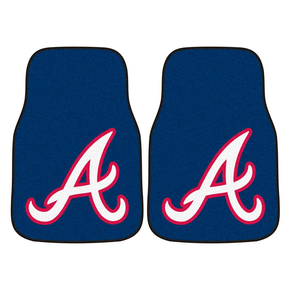 FANMATS Atlanta Braves 18 in. x 27 in. 2-Piece Carpeted Car Mat Set