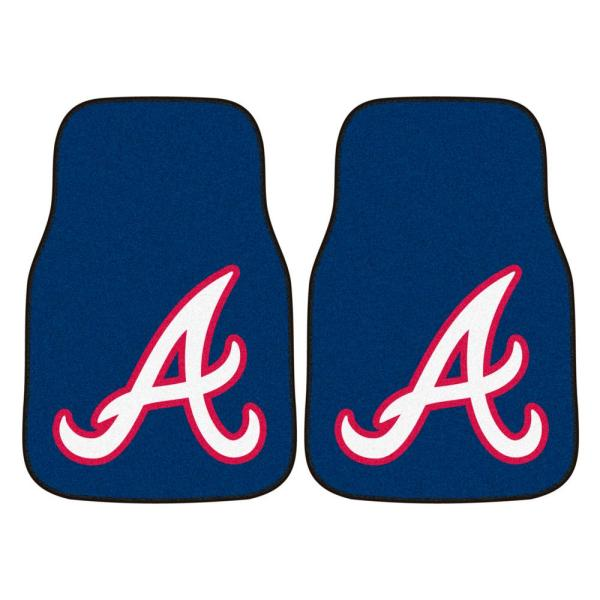 Atlanta Braves 18 in. x 27 in. 2-Piece Carpeted Car Mat Set
