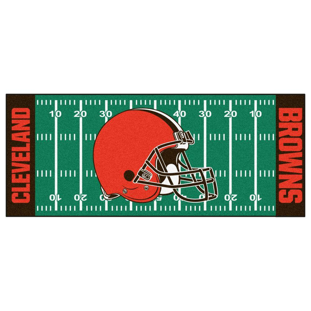 buy online 8b904 36777 FANMATS Cleveland Browns 3 ft. x 6 ft. Football Field Runner Rug