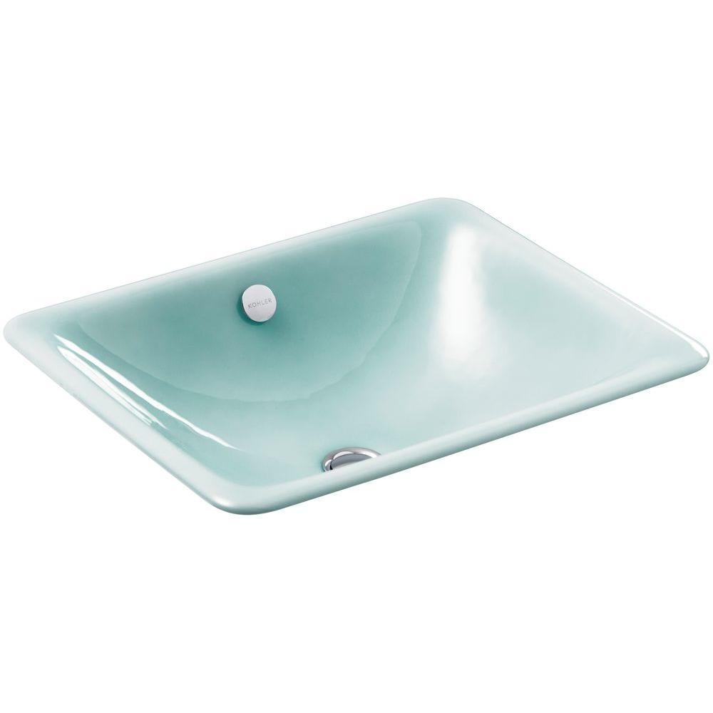 Kohler iron plains dual mount cast iron bathroom sink in vapour green with overflow drain k 5400 Kohler cast iron bathroom sink