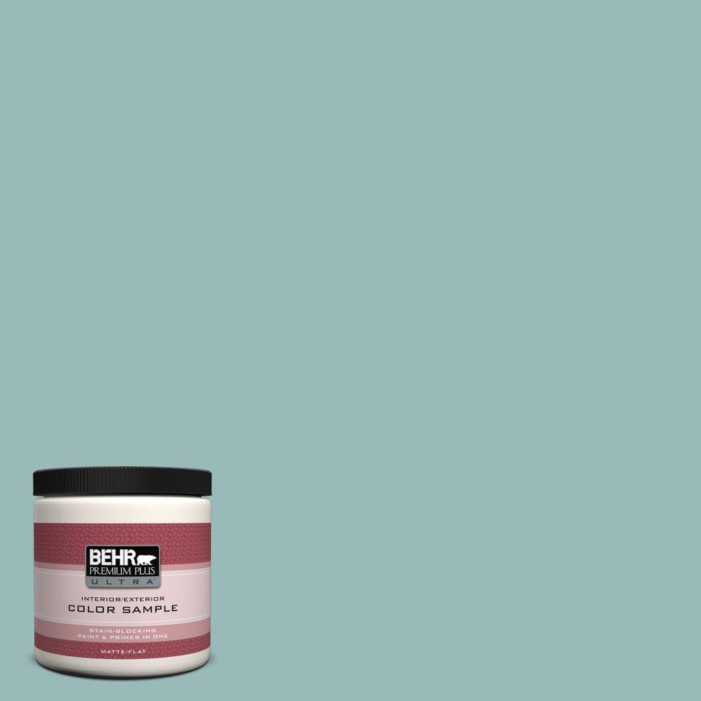 BEHR Premium Plus Ultra 8 oz. #PPU12-6 Lap Pool Blue Flat Interior/Exterior Paint and Primer in One Sample