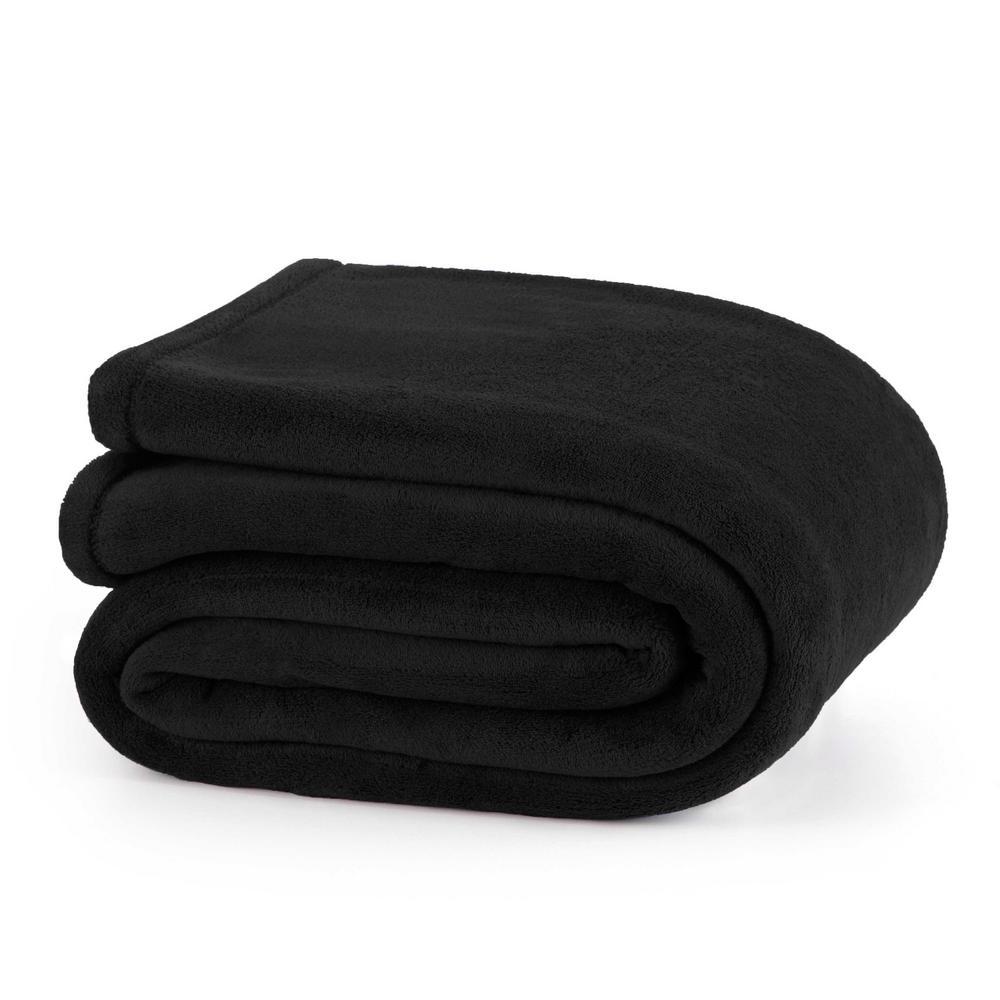 Plush Black Polyester Full Blanket