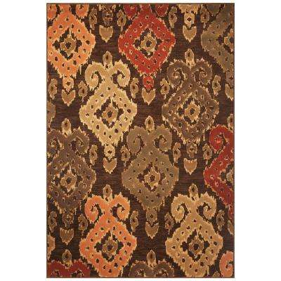 Soft Ikat Mocha 5 ft. 3 in. x 7 ft. 8 in. Area Rug