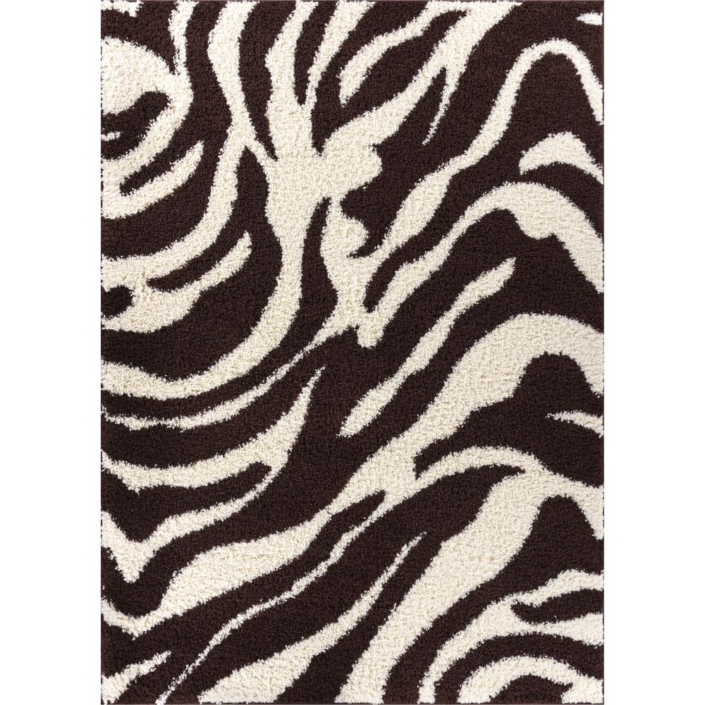 Well woven madison shag safari zebra brown 3 ft 3 in x 5 for Geometric print area rugs