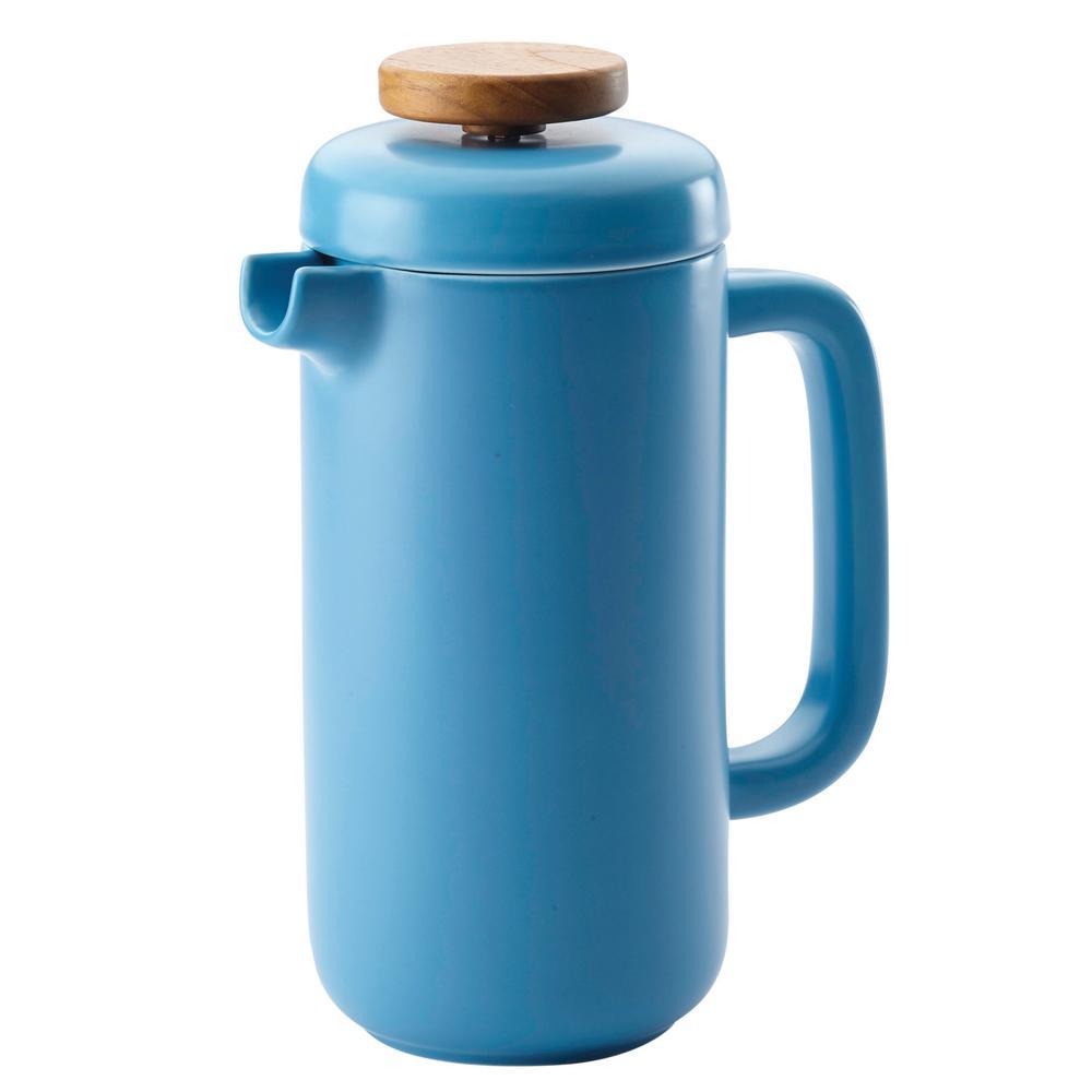 Ceramic Coffee and Tea 8-Demitasse-Cup Ceramic French Press, Aqua