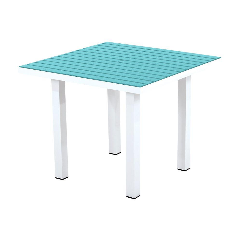 Euro Satin White/Aruba 36 in. Square Patio Dining Table