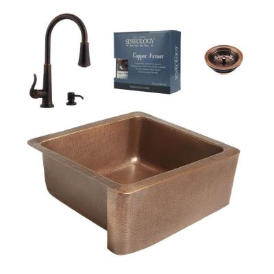 Monet Farmhouse Apron Front Copper All-in-One 25 in. Single Bowl Kitchen Sink with Pfister Ashfield Faucet and Strainer