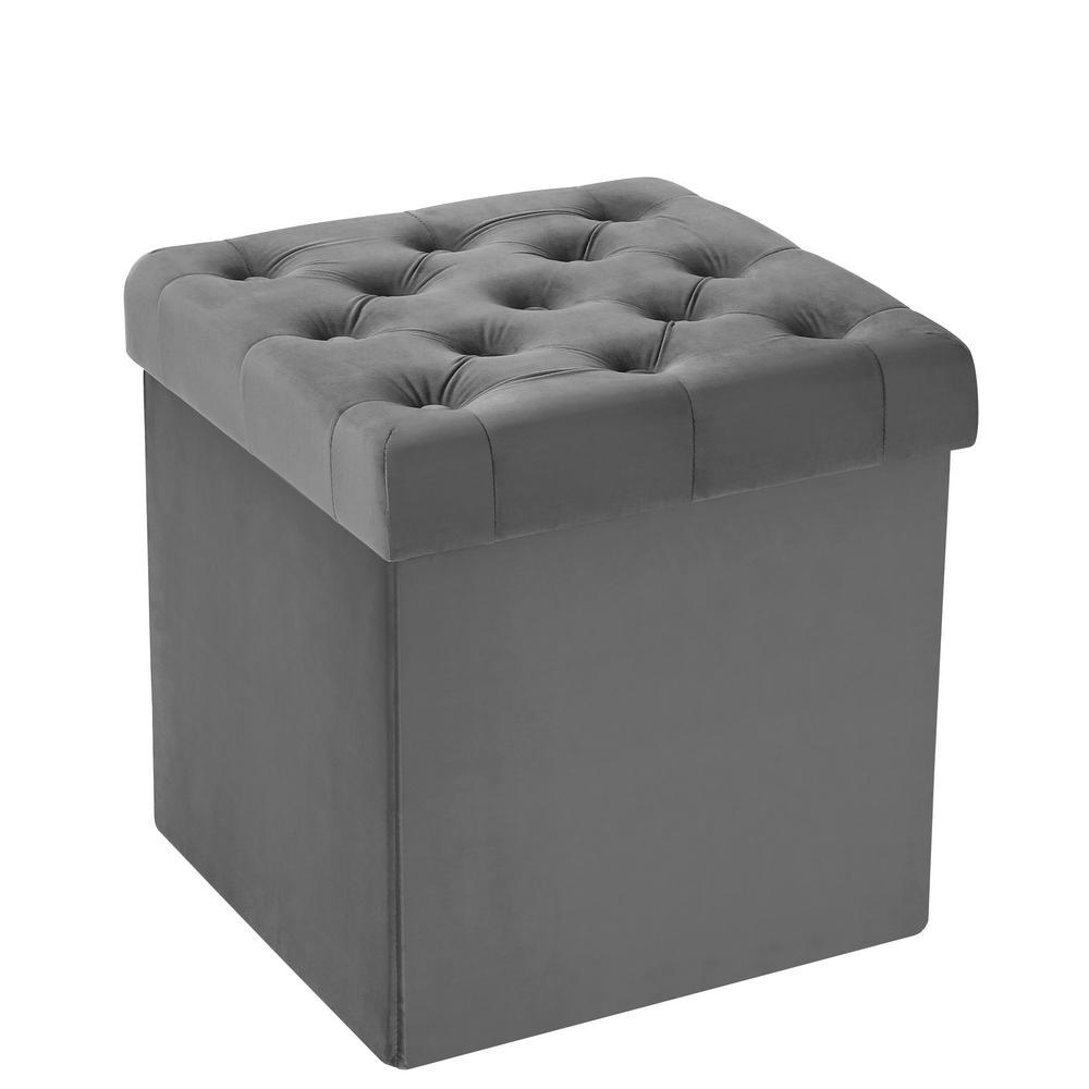 Poly And Bark Lauren Grey Velvet Cube Storage Ottoman