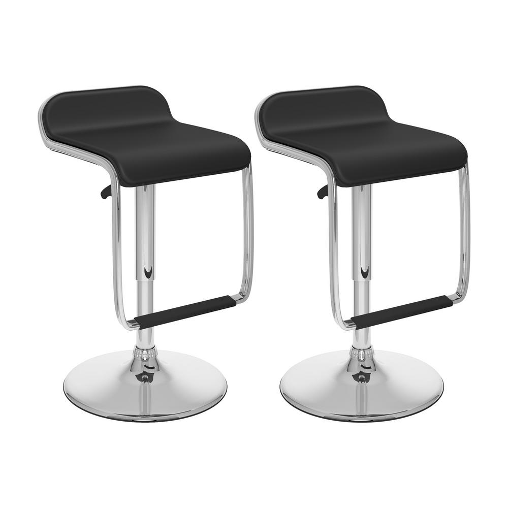 Adjustable Height Black Leatherette Swivel Bar Stool with Footrest (Set of