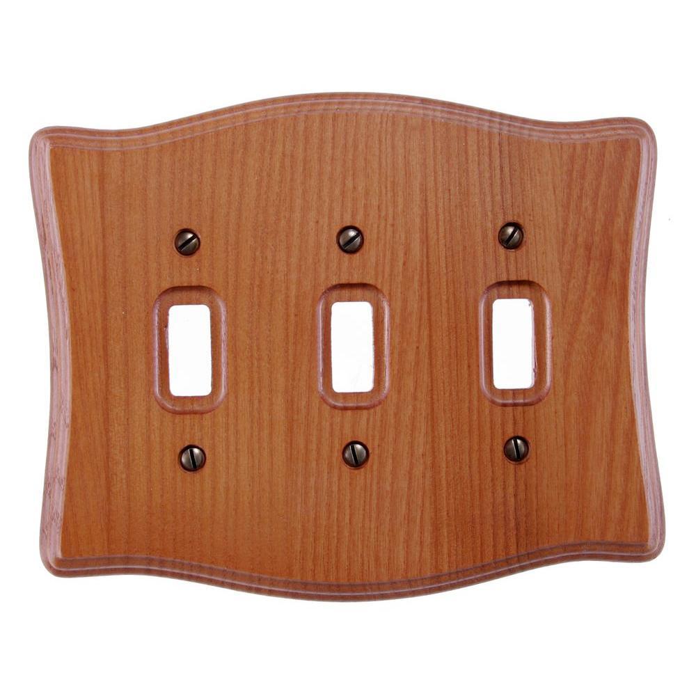 3 Toggle Wall Plate - Tavern Oak