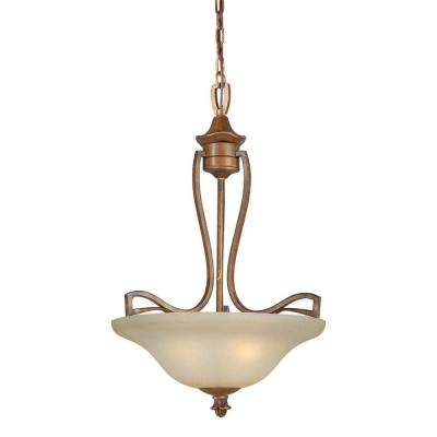 3-Light Rustic Sienna Bronze Bowl Pendant with Umber Mist Glass
