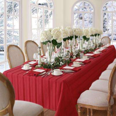 60 in. W x 102 in. L Red Elrene Denley Stripe Damask Fabric Tablecloth