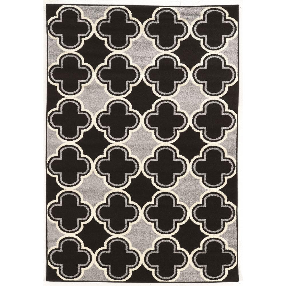 Linon Home Decor Claremont Quatrefoil Black And Grey 2 Ft. X 3 Ft. Area
