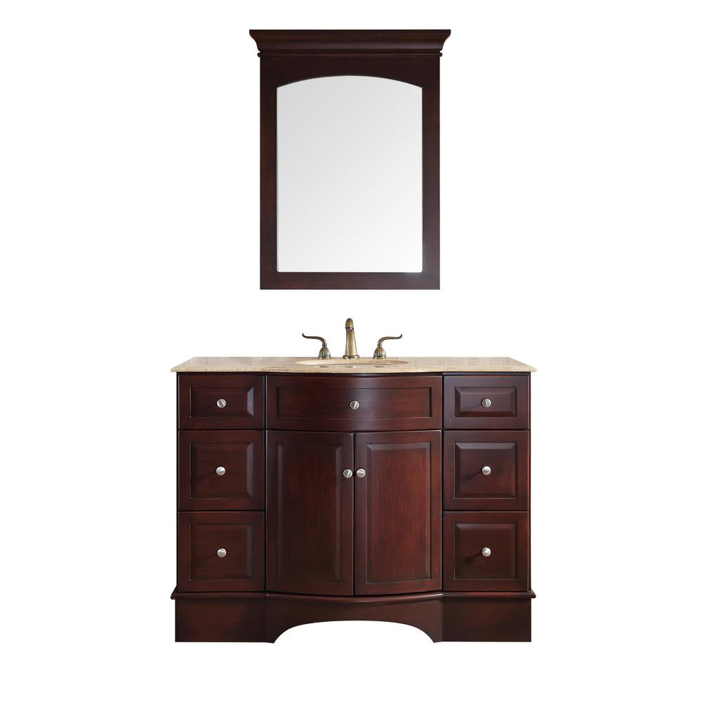 Stufurhome Lotus 48 In. Vanity In Dark Brown With Marble Vanity Top In  Travertine With