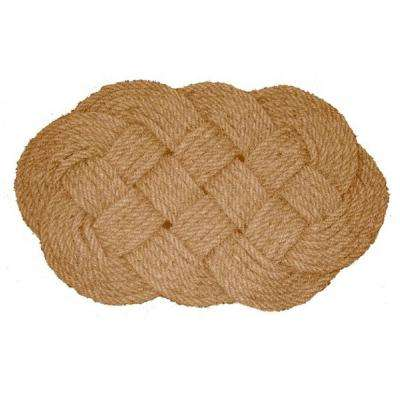 Nature by Geo Beige 20 in. x 30 in. Coir Doormat Woven Lovers Knot