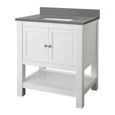 Gazette 31 in. W x 22 in. D Bath Vanity Cabinet in White with Engineered Marble Vanity Top in Grey with White Sink
