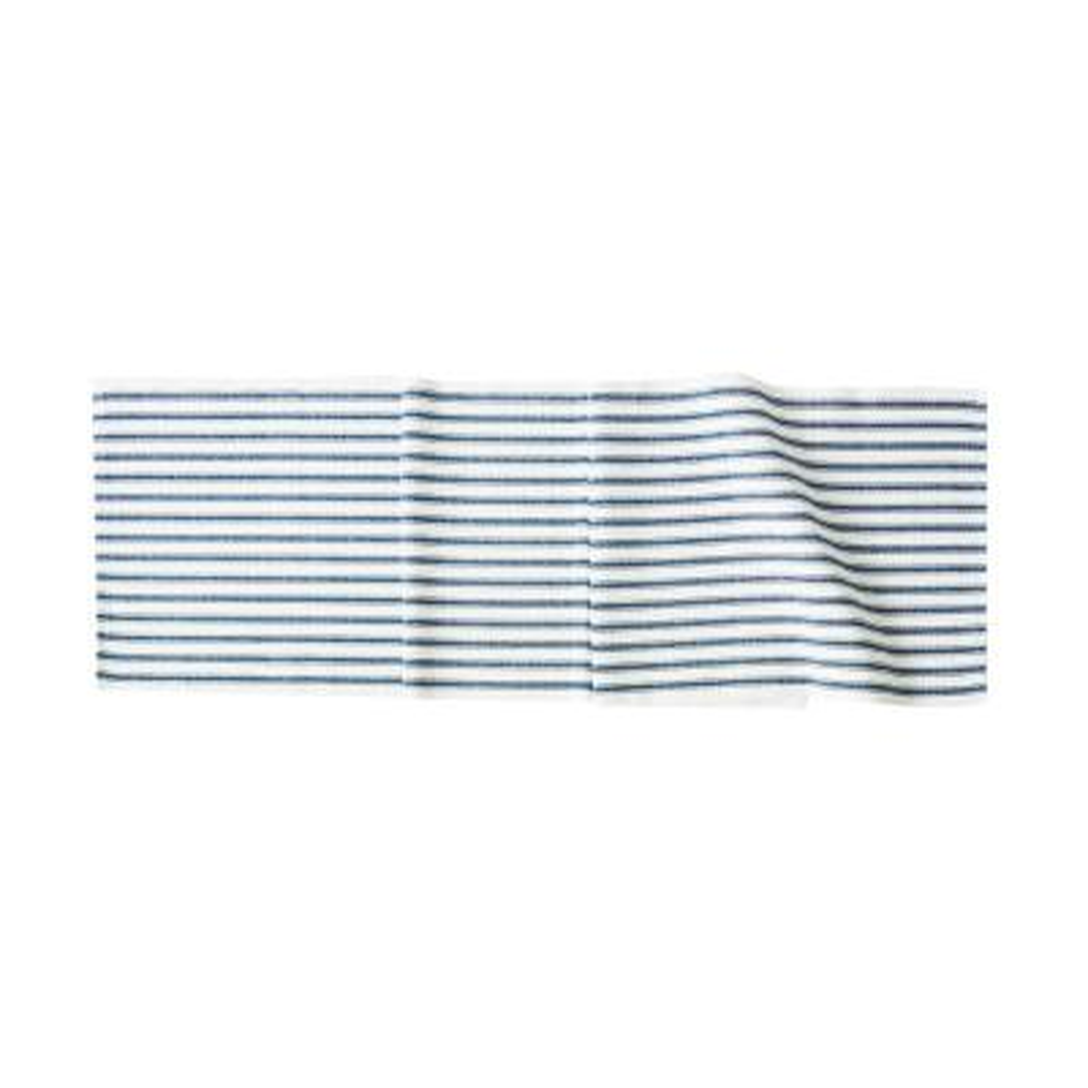 Ticking Stripe Navy 13 in. x 72 in. Multi Striped Cotton Table Runner