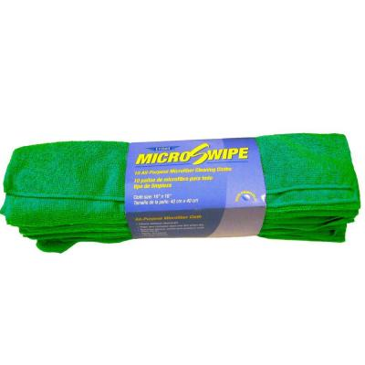 16 in. x 16 in. Green MicroSwipe and Microfiber Cloths (10-Pack)