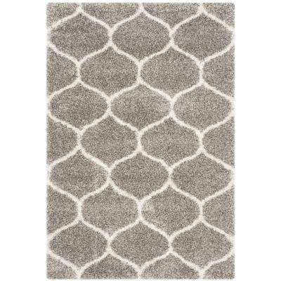Hudson Shag Gray/Ivory 5 ft. 1 in. x 7 ft. 6 in. Area Rug