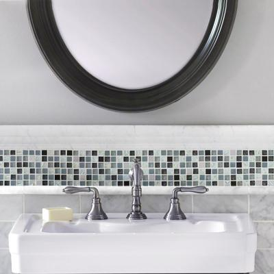 Italian White Carrara .75 in. x 12 in. Honed Marble Wall Pencil Tile (1 Linear Foot)