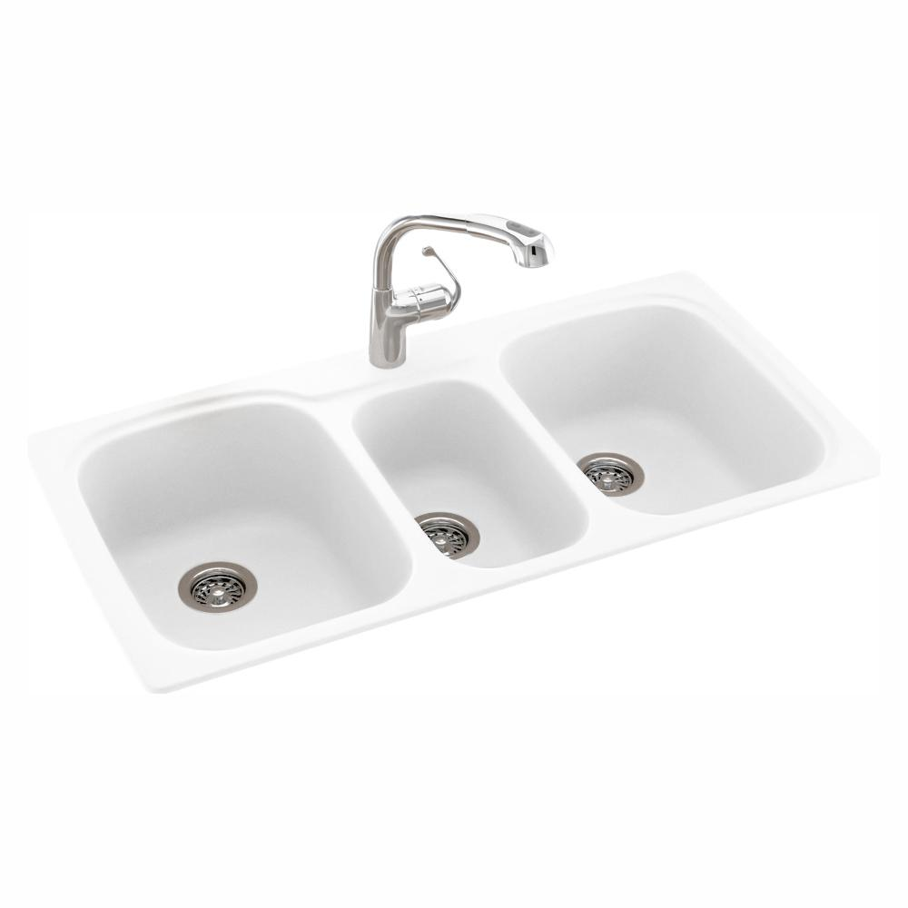Swan Drop-In/Undermount Solid Surface 44 in. 1-Hole 40/20/40 Triple Bowl  Kitchen Sink in White