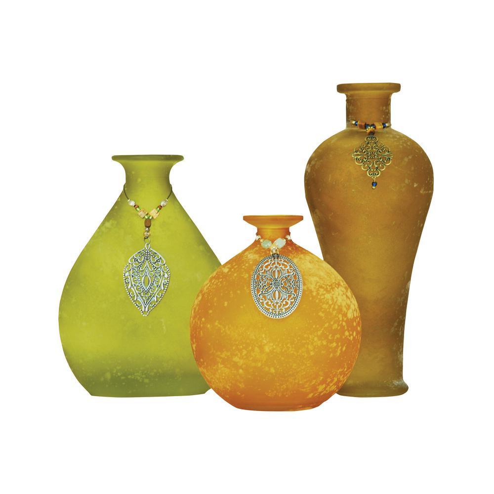 Garner 10 in., 8 in. and 5 in. Glass Decorative Vases in Lemongrass, Ochre and Hazel