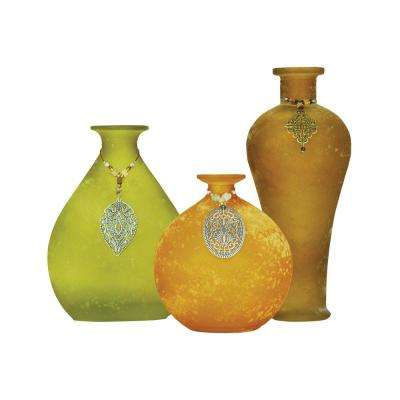 Garner 10 in., 8 in. and 5 in. Glass Decorative Vases in Lemongrass, Ochre and Hazel