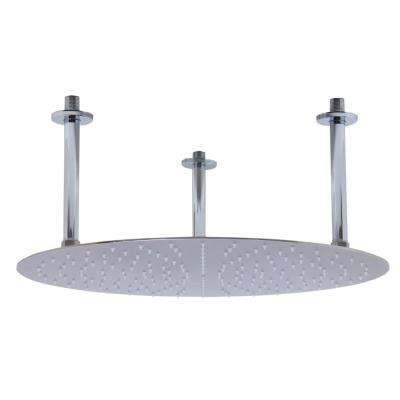 1-Spray 20 in. Fixed Showerhead with Ultra Thin Design in Brushed Stainless Steel