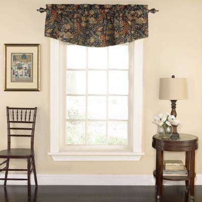 18 in. L Rhapsody Floral Cotton Lined Window Valance in Jewel