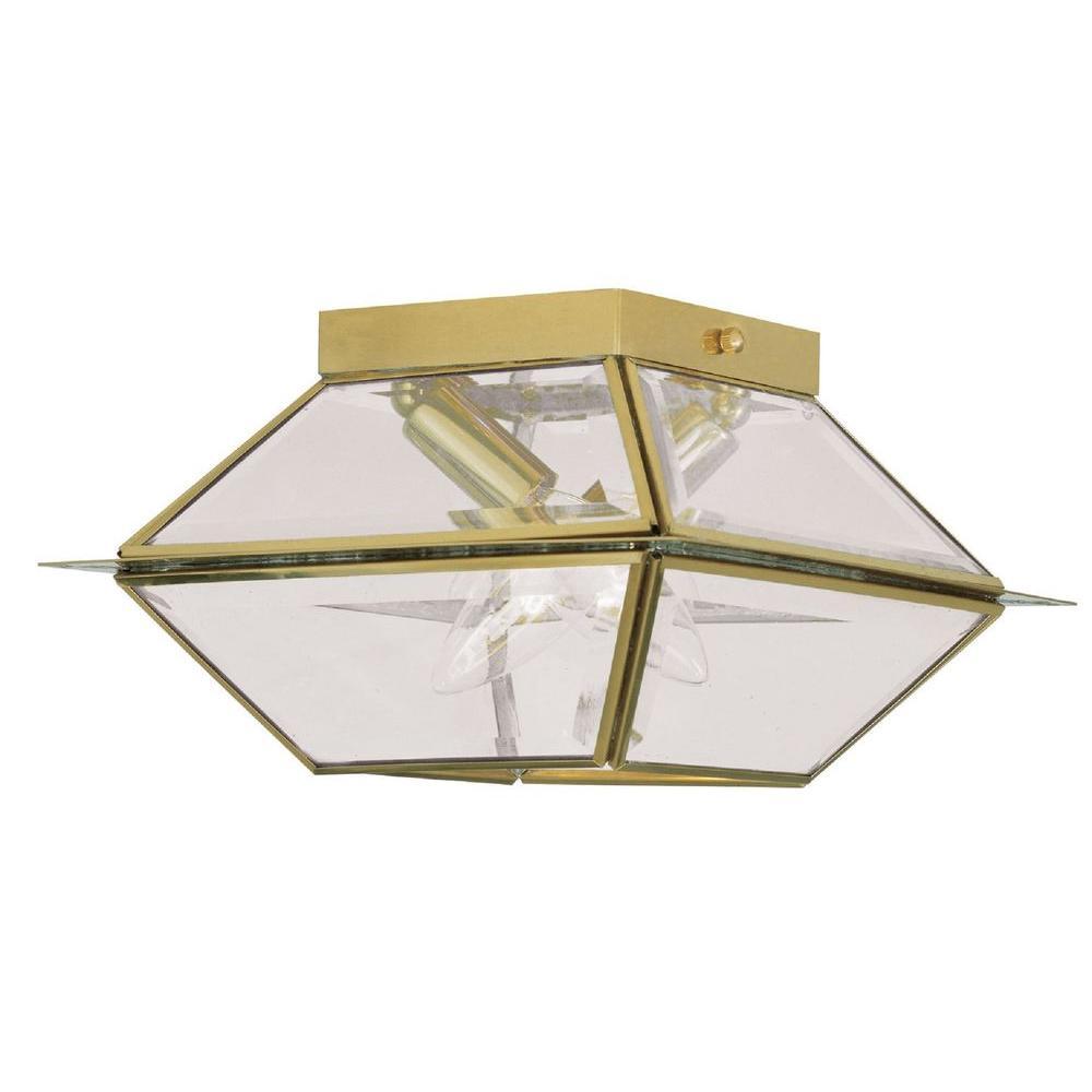 Providence 2-Light Polished Brass Outdoor Flushmount