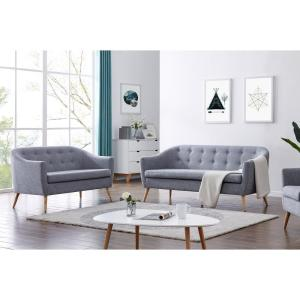 Large Grey Modern Linen Tufted 3-Seat Sofa QI003533L - The ...