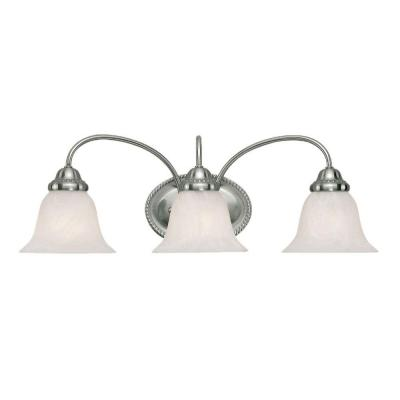 3-Light Satin Nickel Vanity Light with Faux Alabaster Glass