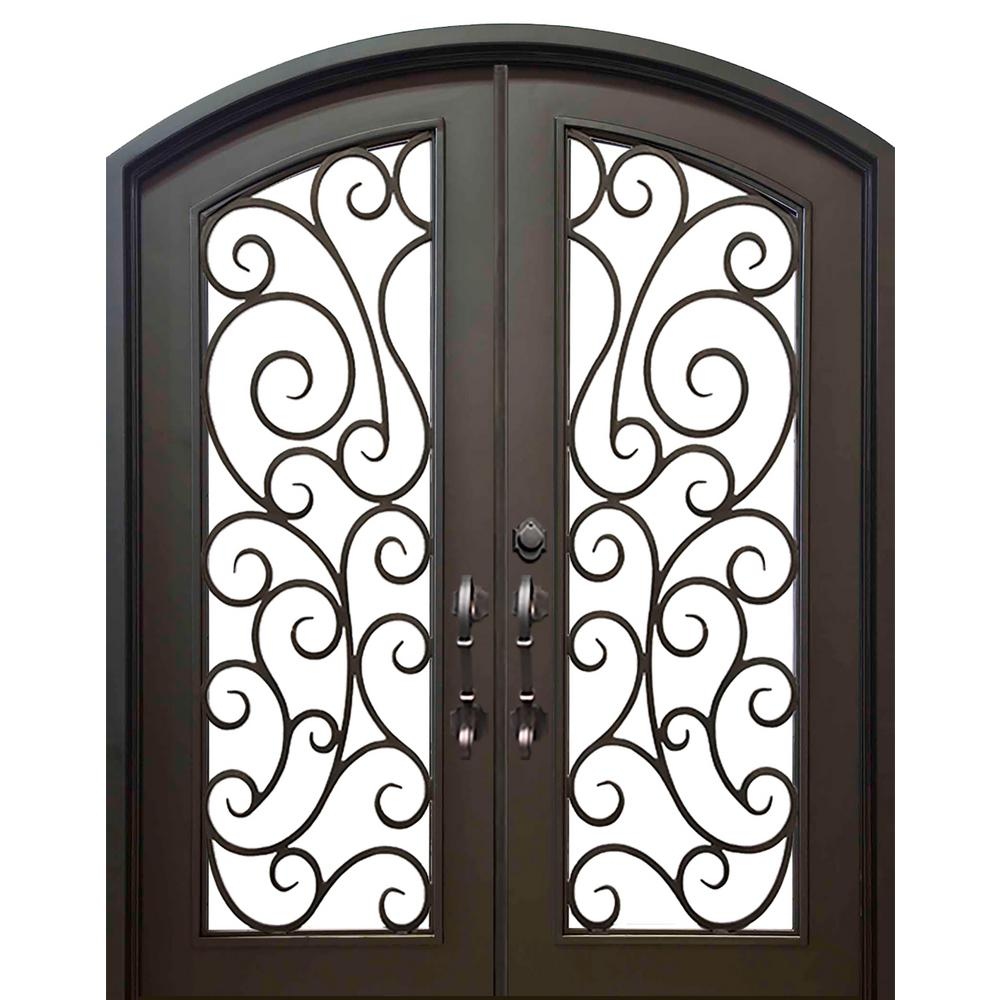 ALLURE IRON DOORS U0026 WINDOWS 74 In. X 82 In. Eyebrow Lauderdale Dark Bronze