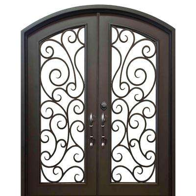 74 in. x 82 in. Eyebrow Lauderdale Dark Bronze Full Lite Painted Wrought Iron Prehung Front Door (Hardware Included)