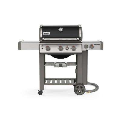 Genesis II E-330 3-Burner Natural Gas Grill in Black with Built-In Thermometer and Side Burner