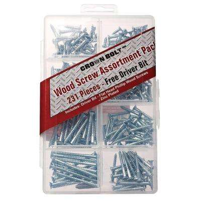 Zinc-Plated Wood Screw Assortment (231-Piece per Pack)