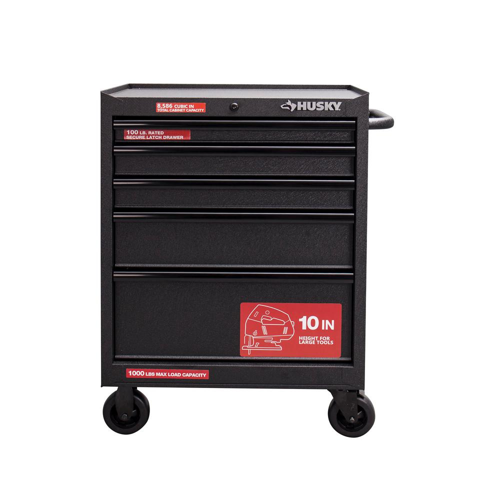 Husky Tool Cart >> Husky 27 In 5 Drawer Rolling Cabinet Tool Chest In Textured Black