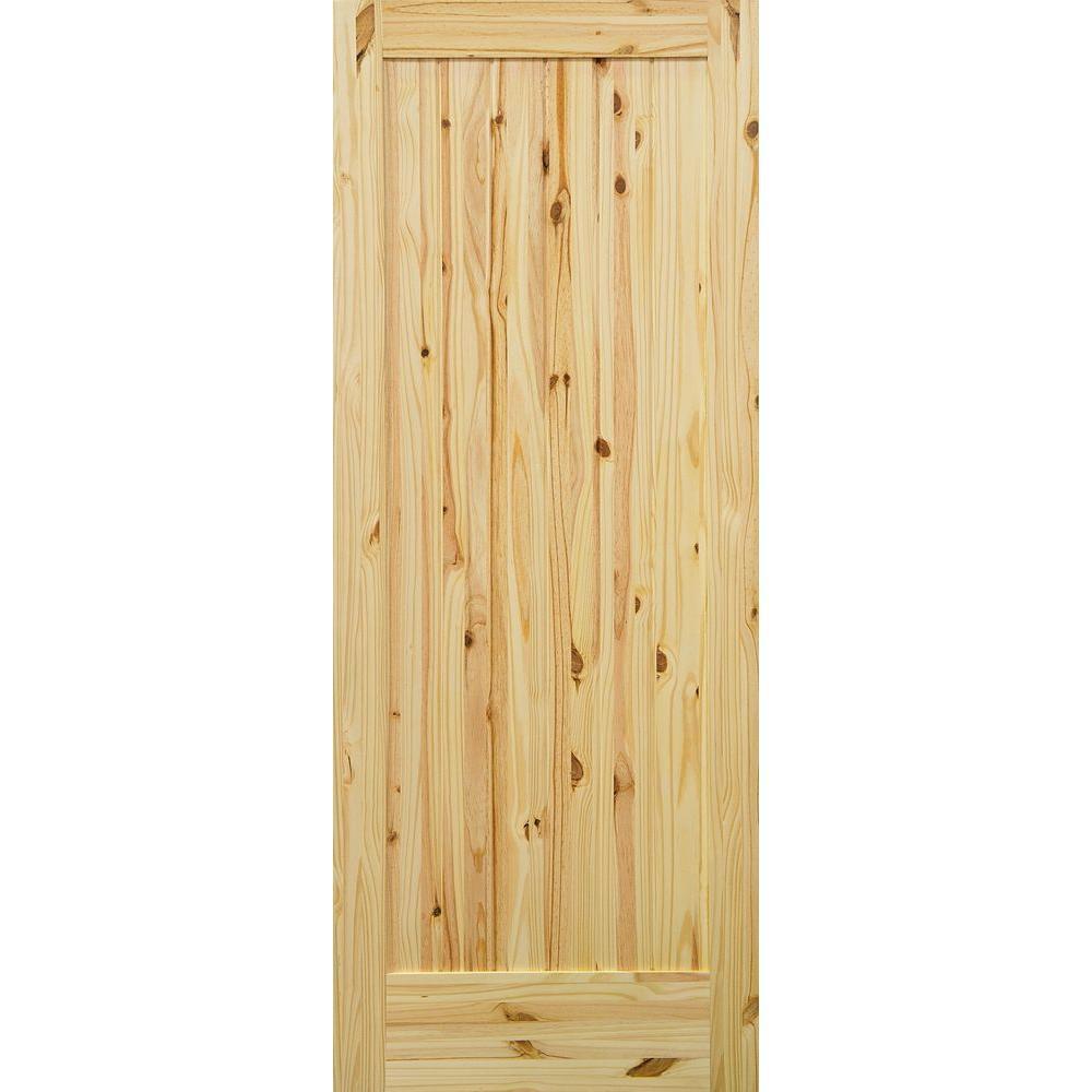 1 Panel Knotty Pine Single Prehung Interior Door With Bronze Hinges