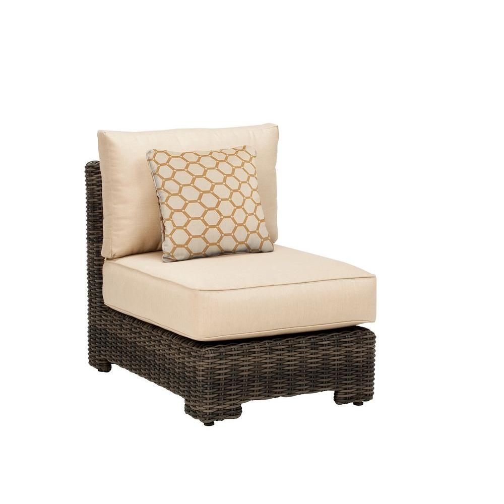 Brown Jordan Northshore Middle Armless Patio Sectional Chair with Harvest Cushion and Tessa Barley Throw Pillow -- CUSTOM