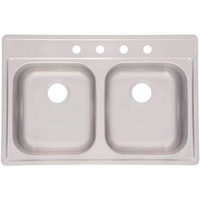 Essentials Drop-in Stainless Steel 33 in. 4-Hole 50/50 Double Bowl Kitchen Sink in Satin Stainless Steel